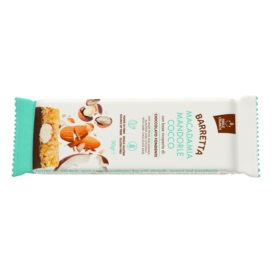 Macadamia bar, almonds, coconut with base covered with dark chocolate
